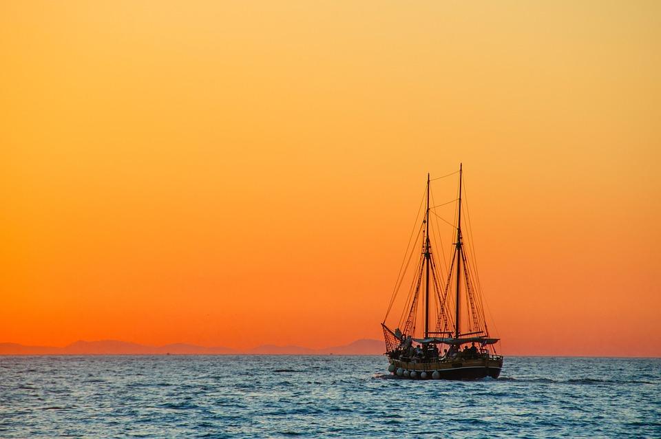 Schip, Zee, Zonsondergang, Windjammer, Masten