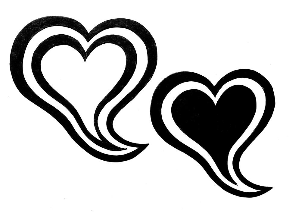 Image Coeur Noir Et Blanc coeur double cœur noir et · image gratuite sur pixabay