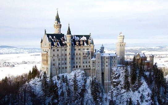 新天鹅堡 ﹣, 城堡, 巴伐利亚, 堡垒, 宫, 风景, 迪斯尼, 景观, 山