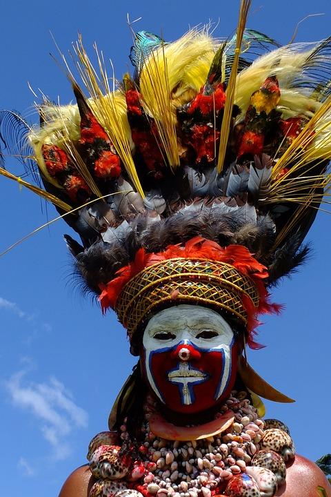 服裝, 畫, 羽毛, 狂歡節, 巴布亞新幾內亞, 珠, 紅色, 白, 慶典