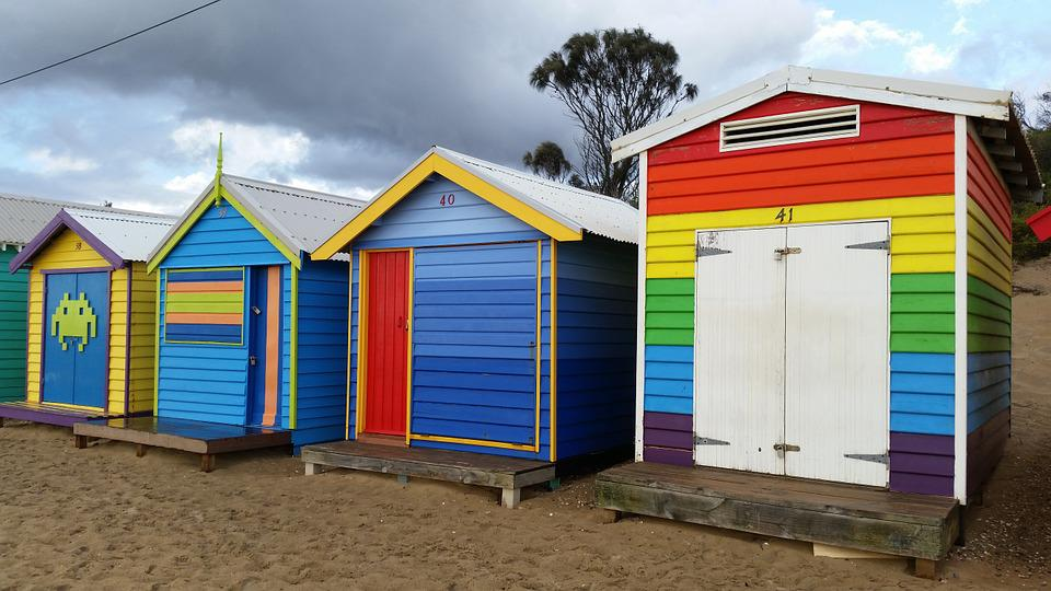 Kostenloses foto strand h tte farbe strand h tten for Cabine de plage en bois pour jardin