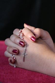 Girl, Lady, Hand, Rosary, Pray, Woman
