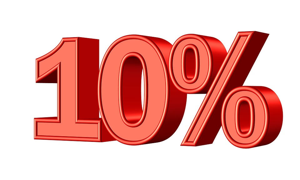 ten 10 percent statistic money sign symbol sale