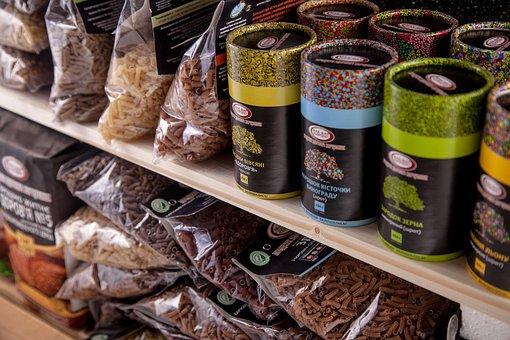 Store Shelf, Shelf With Goods, Tubes
