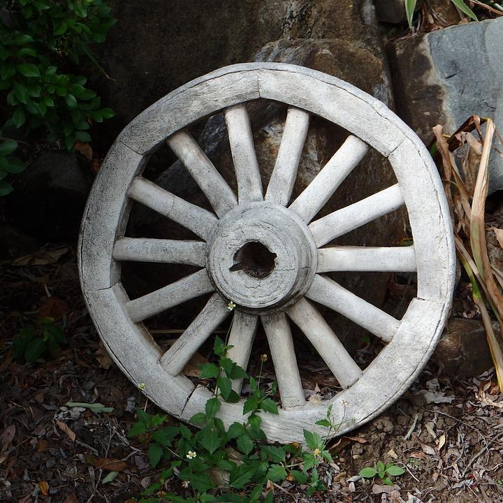 Wagon Wheel, Garden, Wagon, Wheel, Old, Gardening