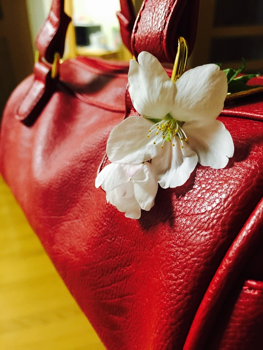 Purse, White Flower, Red