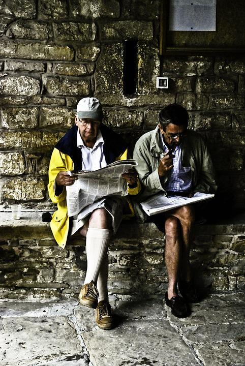 Reading, Men, Newspaper, Sitting, Pipe, Smoking, Yellow