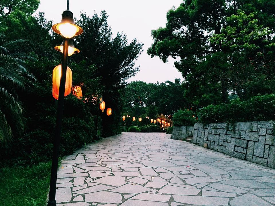 Foto Gratis Lampu Jalan Pemandangan Gambar Senja