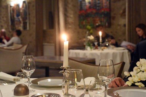Restaurant, Tisch, Licht, Kerze, Elegant