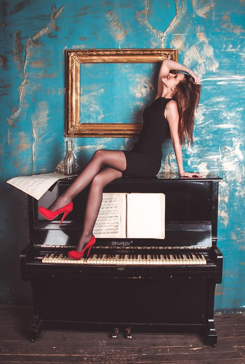 Girl, Piano, Grand Piano, Woman, Elegant, Sexy, Music