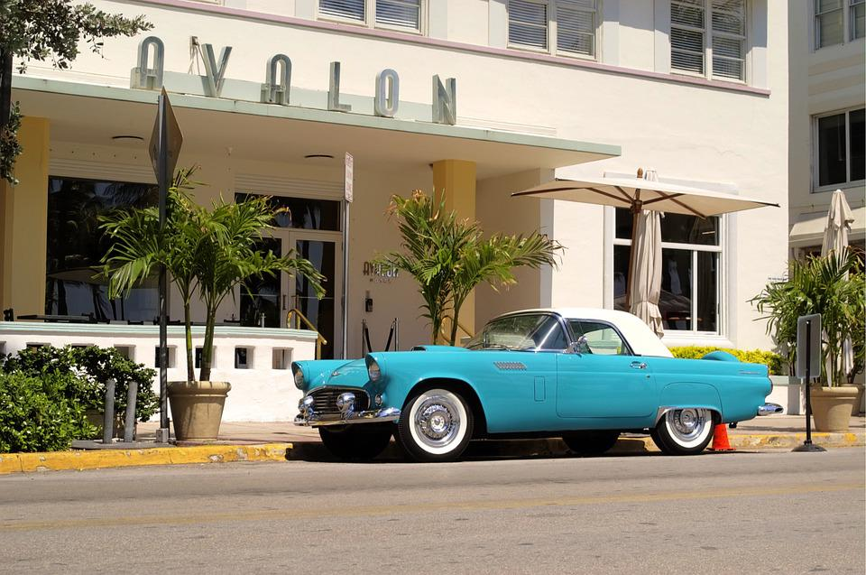 A vintage car in South Beach