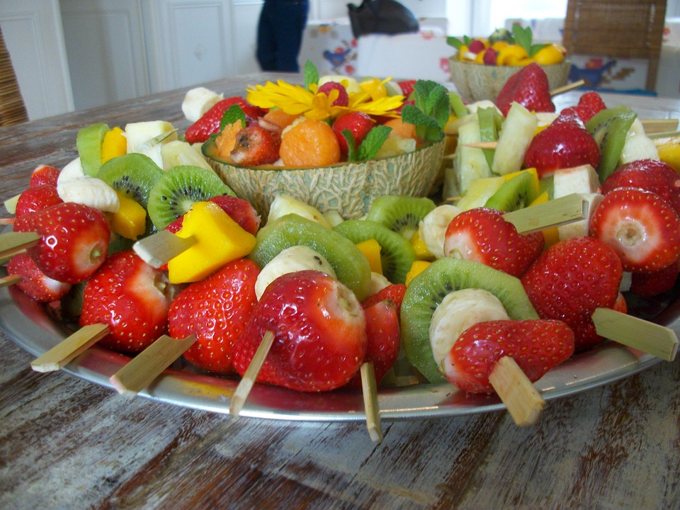 Frutta, Spiedini, Spiedini Di Frutta, Fragole, Kiwi