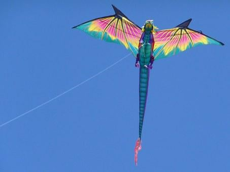 Kite, Flying, Sky, Dragon, Wind