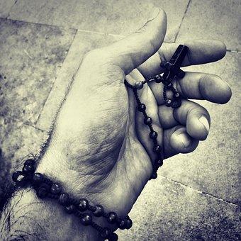 Rosary Praying Hand Black And White R