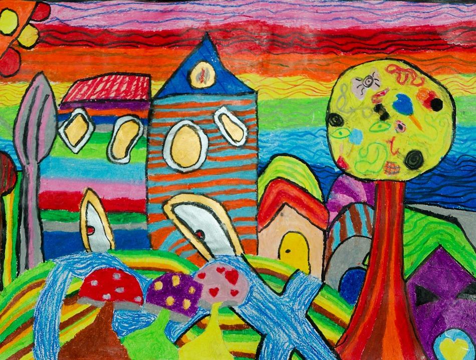 Photo gratuite dessins enfants coloriage maisons for Immagini di murales e graffiti