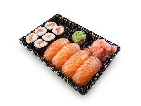 寿司, 設定, にぎり, マキ, 魚, 生, 鮭, 米, わさび