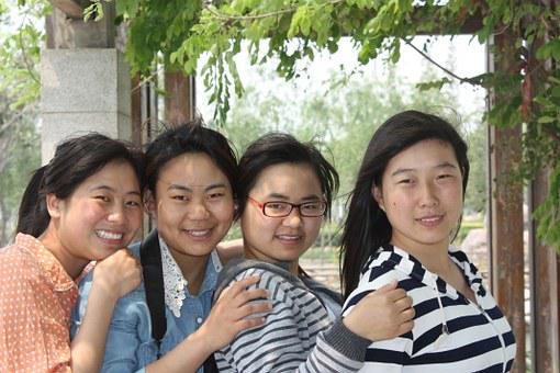 美容, キャンパス, 若さ, 肖像画, 幸せです, 女の子, 外出, 大学生