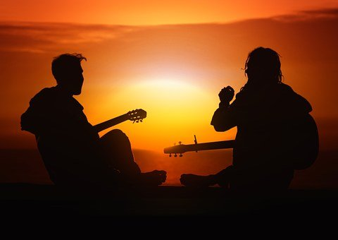 Person Human Guitar Players Joy Sunset Sun