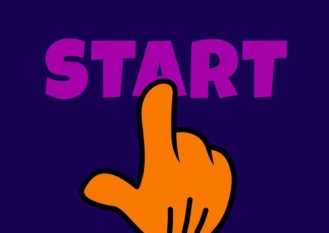 Drawing of a hand hitting the word START in violet color on a blue background.