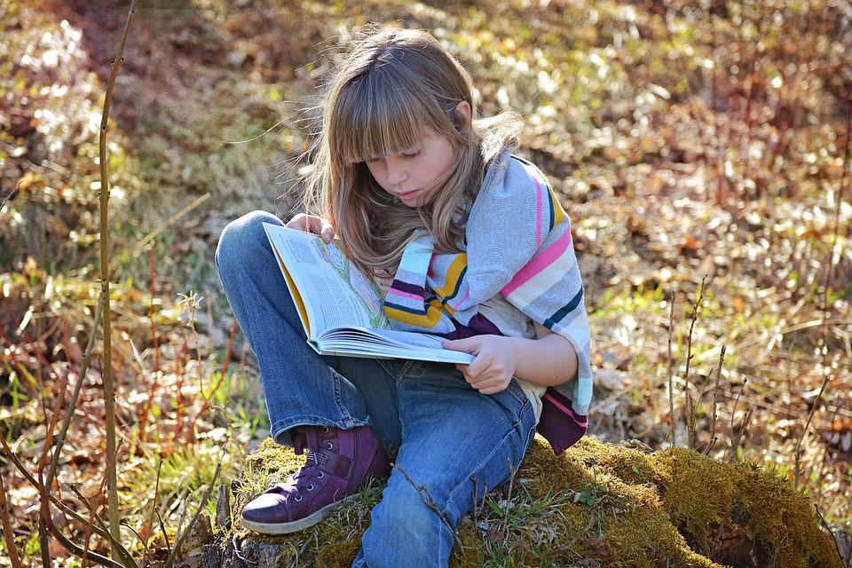 Human, Child, Girl, Sitting, Blond, Long Hair, A Book