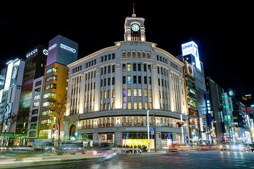 銀座, 和光, 東京, アーキテクチャ, アジア, 青, 明るい, 建物