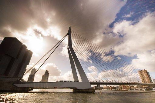 Bridge, Rotterdam, Erasmus, Blue, Sky