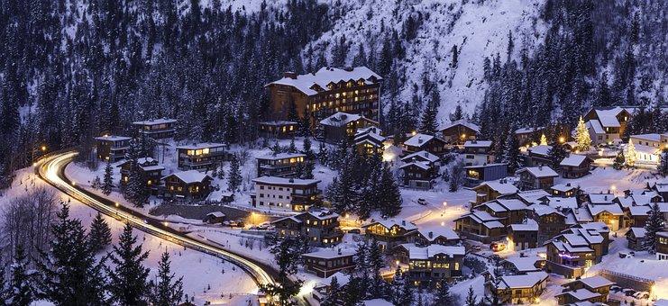 Courchevel Mountain Snow Winter Ski Night