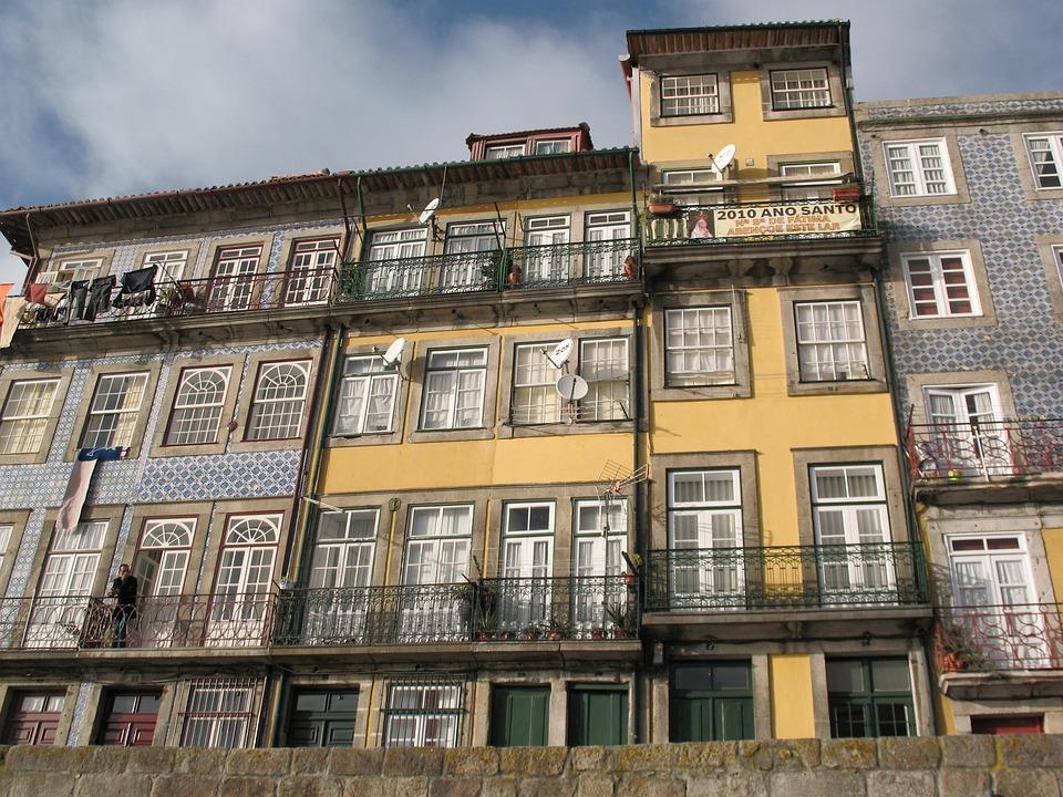 岸壁 ポート ポルトガル 建物 ウィンドウ ファサード、 底面図