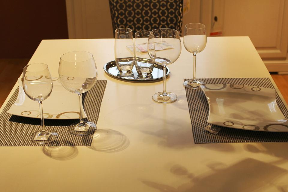 Dining Table, Cover, Glasses, Facilities, Decoration