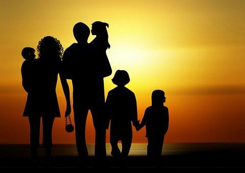 Familia Los Niños Puesta Del Sol Silueta F