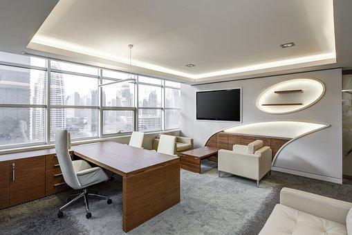 オフィス, リビングルーム, エグゼクティブ, 座っている, ビジネス, デスク