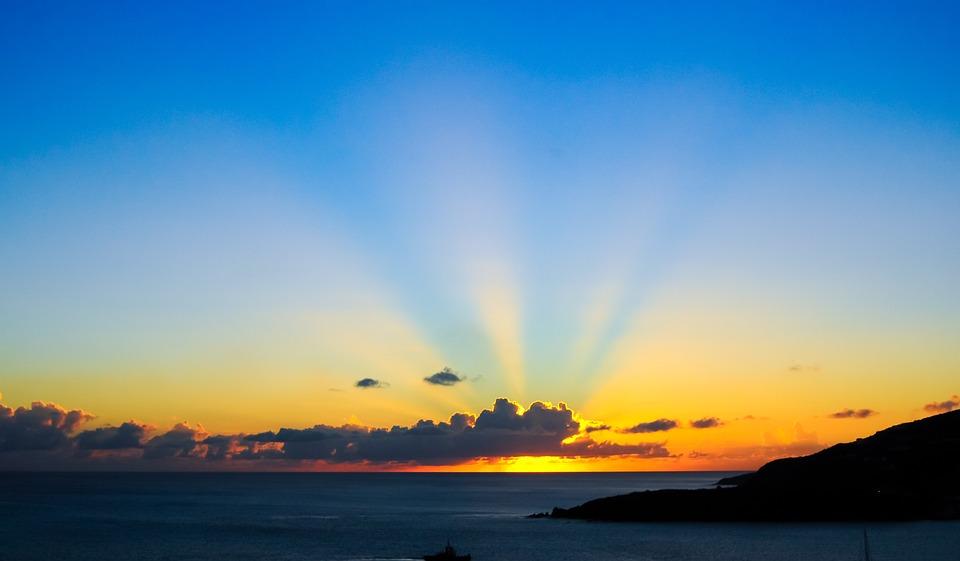 Cloudscape Sunset Sunrise Rays Light Sun Clouds