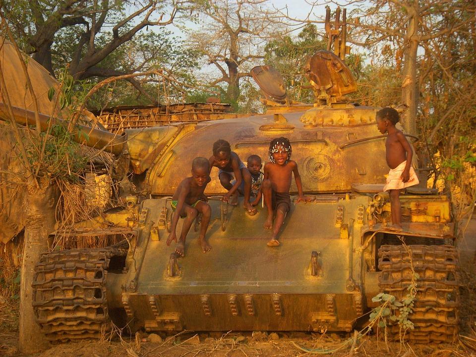 Kinderen, Oorlog, Tank, Afrika