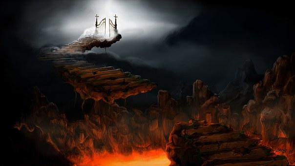 地獄, 煉獄, 天, 階段, パス, ルシファー, 溶岩