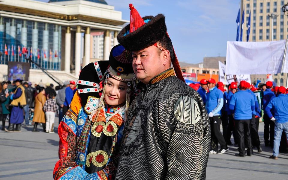 Шляпа, Уайт, Синий, Дамы, Монголия, Костюм