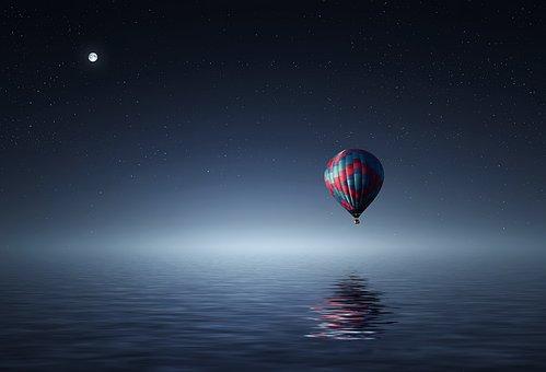 熱気球, 湖, バルーン, 日没, 青, 黄色, カラフルです, 空, 雲, 泊