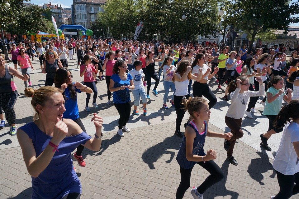 Fitness, Aerobica, Plaza, Pubblico, Persone, Ballare