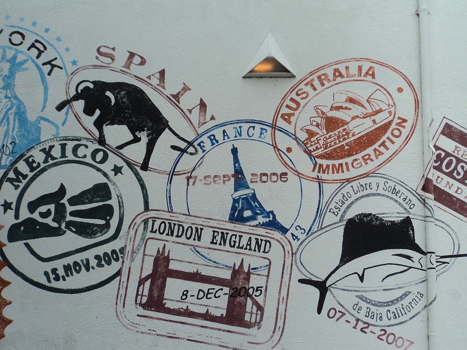 Stamps, Passport, Textures