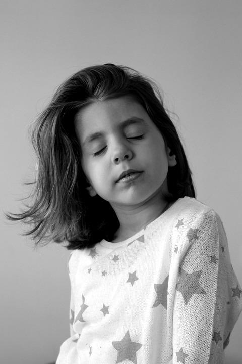 Little girl face sweet portrait hair