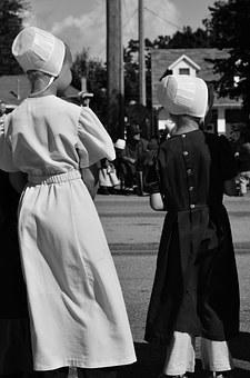 Amish, Girls, Parade, Bonnet, Clothing