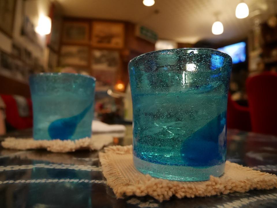 琉球ガラス, 泡盛, 夜, 飲む, 飲み会, 沖縄, 乾杯, グラス