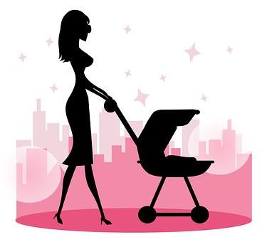 ピンク, お母さん, ママ, 赤ちゃん, ベビーカー, 母, 愛, 幸せ, 女性