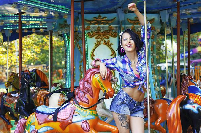 free photo  carousel  woman  young  beautiful