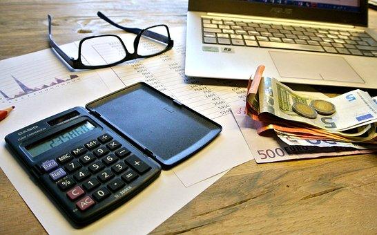 税金, カウント, お支払い, ライフ スタイル, 困惑, 通貨, 電卓