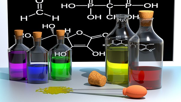 Chemistry, School, Color, Bottles, 3D