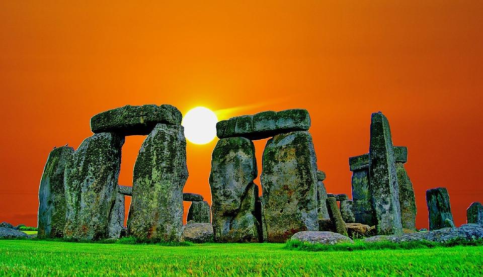 Stonehenge, Sunset, Pierre, Ruine, Sun, Humeur, Soir