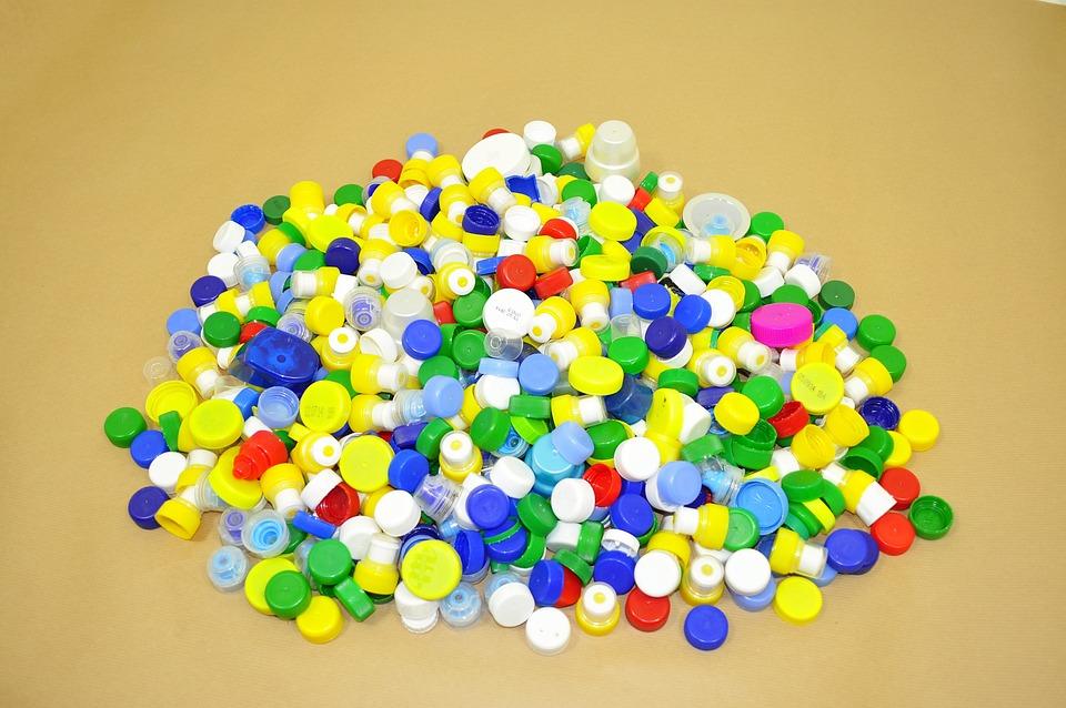 Kapsle, Tworzywo, Recykling, Nakrętki, Stos, Kolorowe