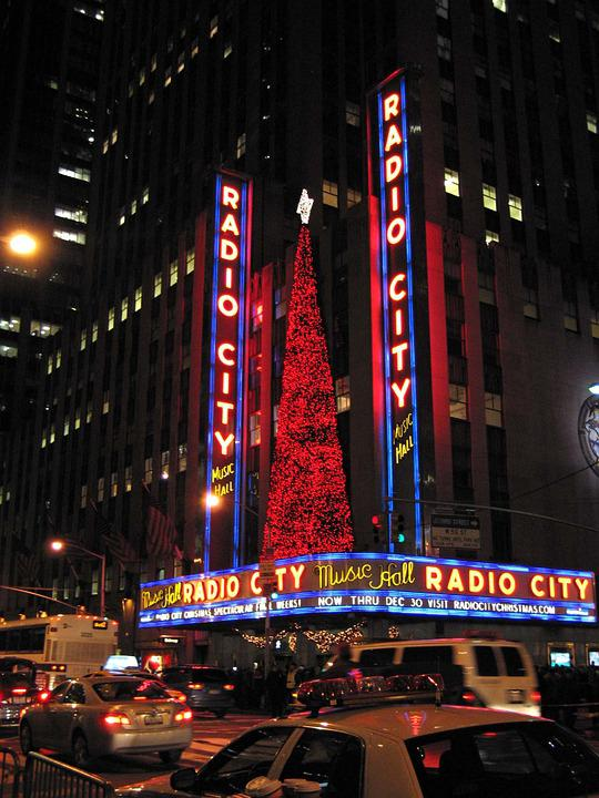 Nueva York, Noche, Ciudad, Letreros De Neón, Navidad
