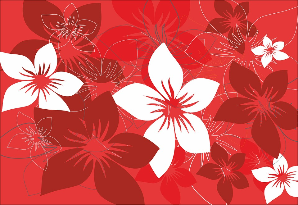 The Background Flowers Foliage Red White Model