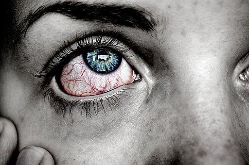 Olho, Doentes, Blue, Red, Dor